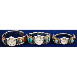 Three Navajo Turquoise Watchbands