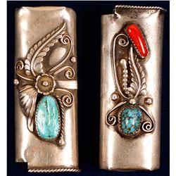 Two Silver & Turquoise Lighter Cases