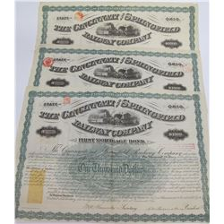 Cincinnati & Springfield Railway Co. Bonds w/ Imprinted Revenues