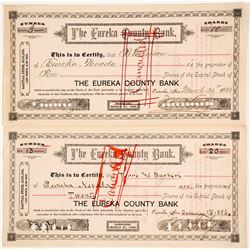 Eureka County Bank Stock Certificates