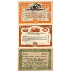 Three Publishing Stock Certificates