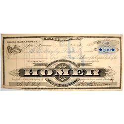 Homer Mill & Mining Stock Certificate