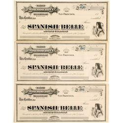 3 Spanish Belle Mining Stocks Certificates, Ny County, Nevada