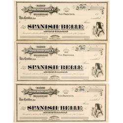 3 Spanish Belle Mining Stocks Certificates, Ny County, Nevada
