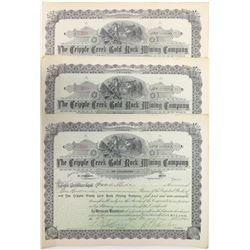 Cripple Creek Gold Rock Mining Co. Stock Certificates (3)