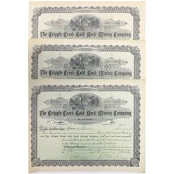 Cripple Creek Gold Rock Mining Co. Stock Certificates (3)