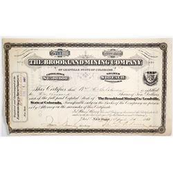 Brookland Mining Co. of Leadville, Colorado Stock Certificate
