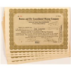 Boston and Ely Consolidated Mining Company Certificates