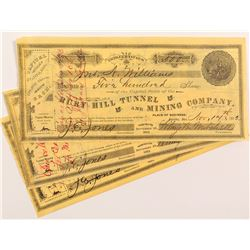 Ruby Hill Tunnel and Mining Company Stock Certificates