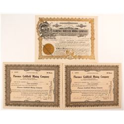 Three Goldfield/Florence Mining Stock Certificates