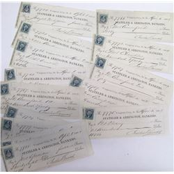 Fifteen Territorial Virginia City, Nevada Checks signed by Bonner