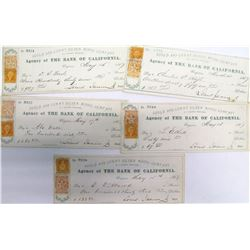 "Five Gould & Curry Mining Co. Checks (""Dripping Letters"" Style)"