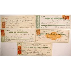 Five Gould & Curry Mining Co. Checks w/ tied and manuscript cancels