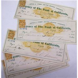 Five RN-C Gould & Curry Silver Mining Co. Checks w/ NV Revenue Stamps