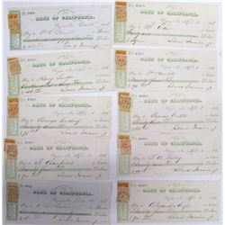 Ten Gould & Curry Mining Checks w/ NV Adhesive Revenue Stamps