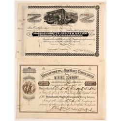 Massachusetts & New Mexico Mining Stock Certs. (2)
