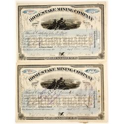 Homestake Mining Co. Stock Certs. (2)
