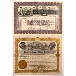 Park City Mining Stock Certificates