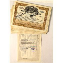 88 King David Mining Company Stock Certificates