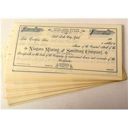 Niagara Mining and Smelting Company Stock Certificates
