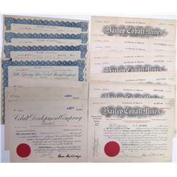 Ontario Cobalt Mining Stock Certificate Collection