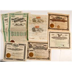 Eight US Mining Stock Certificates & Bonds
