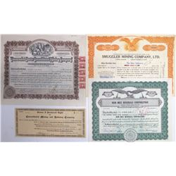 Four Different Western Mining Stock Certificates