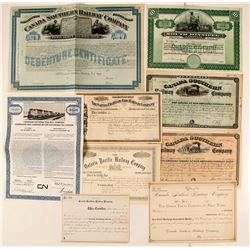 Canadian Railroad Stock Certificates