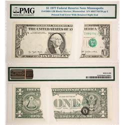 US $1 Error Note,  Mismatched Serial Number