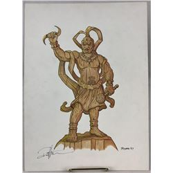 Wishmaster (1997) - Ahura Mazda Statue Signed Color Concept Art