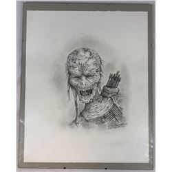 Framed Indian Zombie Original Concept Art by Robert Kurtzman