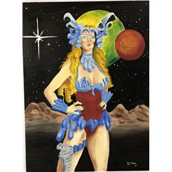 Sybil Danning - Battle Beyond The Stars Original Historic Art by Robert Kurtzman - His First Oil Pai
