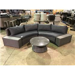 DARK GREY VALE CURVED SOFA SET WITH OVERSTUFFED CUSHIONS.
