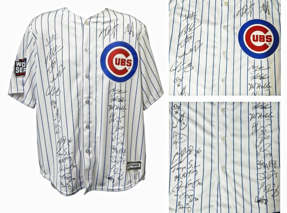 faa1e0749d6 Image 1   2016 Chicago Cubs Team-Signed Chicago Cubs White Pinstripe Majestic  Authentic Jersey