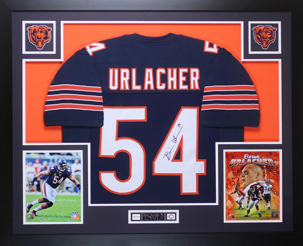 Image 1   Brian Urlacher Signed Bears 35x43 Custom Framed Jersey Display  (JSA COA) 56d5143fc