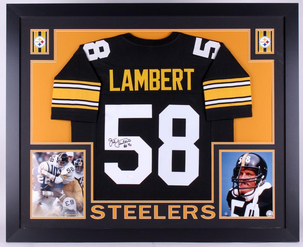 finest selection a8ec3 c9fda Jack Lambert Signed Steelers 35x43 Custom Framed Jersey ...