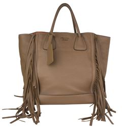 Prada Cammello Pebble Deerskin Fringe Tan Leather Tote