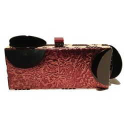 Tanya Hawkes Copper Leather Cow Print Snakeskin Metal Abstract Clutch