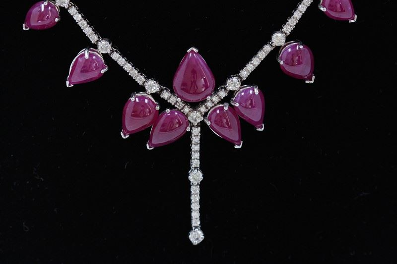46 96ct Burma Ruby (No lead filled, not treated) 14K White Gold Necklace