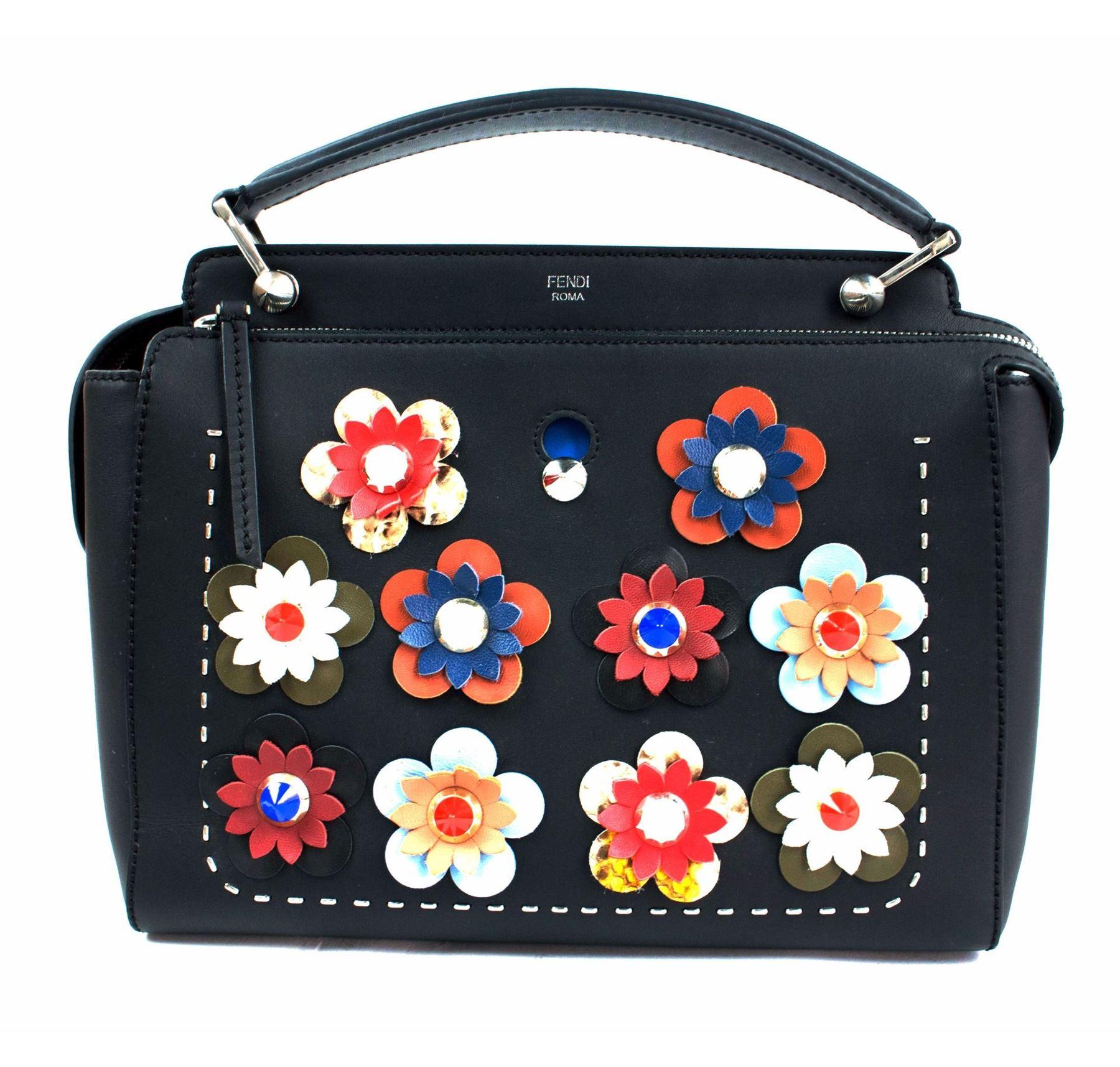 8c282911be Image 1   FENDI DOTCOM Medium Floral Leather Satchel Bag