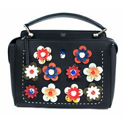 FENDI DOTCOM Medium Floral Leather Satchel Bag, Black