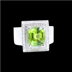 3.80CT NATURAL BURMA PERIDOT 14K W/G RING