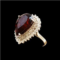 21.23CT NATURAL MALAYA GARNET 14K WHITE GOLD RING
