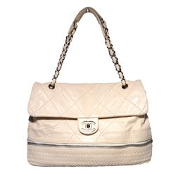 Chanel Cream Quilted Leather Zip Bottom Classic Shoulder Bag