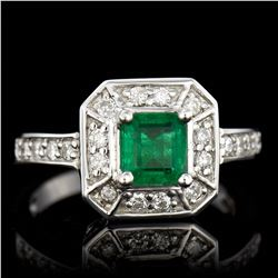 0.89CT NATURAL COLOMBIAN EMERALD 14K WHITE GOLD RING