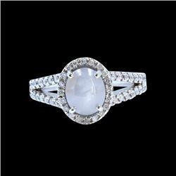 2.19ct Ceylon Star Sapphire 18K White Gold Ring