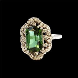5.22CT NATURAL COPPER BEARING TOURMALINE 14K WHITE GOLD RING