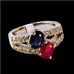 1.19CT NATURAL BLUE SAPPHIRE AND RUBY 14K WHITE GOLD RING