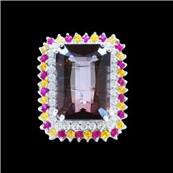 27.74CT NATURAL BIO COLOR TOURMALINE, RUBY AND SAPPHIRE 14K W/G RING