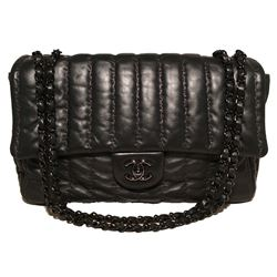 RARE Chanel Black Shimmery Leather Striped Quilted Jumbo Classic Flap
